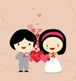 sweet love couple with hearts vector image vector image