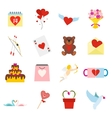 Valentines flat icons set vector image vector image