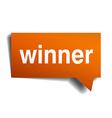 winner orange speech bubble isolated on white vector image vector image