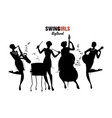 women orchestra four girl playing jazz swing or vector image vector image