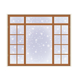 Wooden window with frost