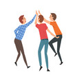 young men giving high five to each other meeting vector image vector image