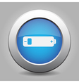 blue metal button with battery low vector image