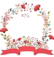 Retro floral frame and ribbon vector image