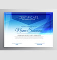 abstract blue award certificate design template vector image vector image