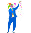 april 1 is fools day party cartoon man king of vector image vector image