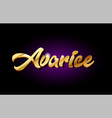 avarice 3d gold golden text metal logo icon vector image vector image