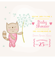 Baby Girl Cat Holding Flower - Baby Shower Card vector image vector image