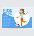 beautiful active girl playing soccer kids land vector image vector image