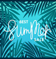 best summer sale composition with palm leaves vector image