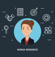 businesswoman with human resources set icons vector image