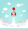 cartoon sky with rocket and cloud vector image vector image
