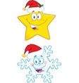 Cartoon star and snowflake vector image vector image