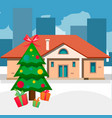 christmas trees outdoor home vector image vector image