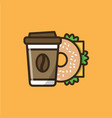 coffee drink and bagel sandwich vector image vector image