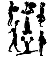 Collection of silhouettes of children of cheerlead vector image vector image