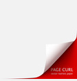 curled corner of paper with shadow on red vector image vector image