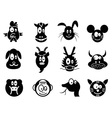 Cute cartoon chinese zodiac icontwelve animals vector | Price: 1 Credit (USD $1)