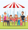 cute family happy in the picnic day characters vector image