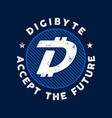 dgb cryptocurrency coin sign digibyte accept the vector image