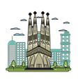 doodle sagrada familia tower and nice cityscape