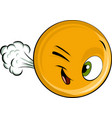 draw face emoticon farting vector image