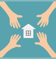 four hands arms reaching to paper house home sign vector image vector image