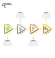 four triangular elements or arrows with pictograms vector image