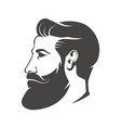 Gentleman head with beard and mustache isolated on