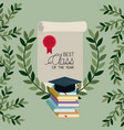 graduation card with books and diploma vector image