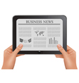 hands holding digital tablet pc with business news vector image vector image