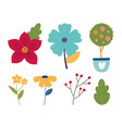 happy spring potted plant flowers branch leaves vector image