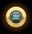 iso 45001 standard medal - occupational health and vector image vector image