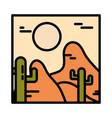 landscape arid desert cactus sun wild line