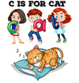 Letter C is for cat vector image vector image