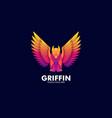 logo flying griffin mythology gradient colorful vector image