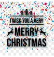 Merry Christmas Letters words on transparent vector image vector image