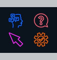 mouse cursor question mark and messages icons vector image