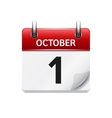 October 1 flat daily calendar icon Date vector image vector image