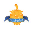 oktoberfest blue ribbon golden hop cones im vector image