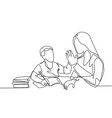 parenting family care concept one single line vector image