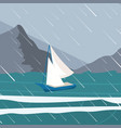 picture yacht regatta off the coast vector image