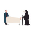 sad or sorrowful man grim reaper with scythe vector image