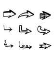 set hand drawn arrows on white background vector image vector image