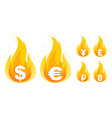 set icons dollar euro yen ruble and pound vector image