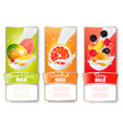 set of three labels of of fruit in milk splashes vector image