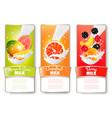 set three labels fruit in milk splashes vector image vector image