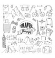 set travel hand drawn concept vector image vector image