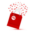 shopping paper red bag empty vector image vector image