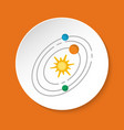 solar system icon in flat style on round button vector image
